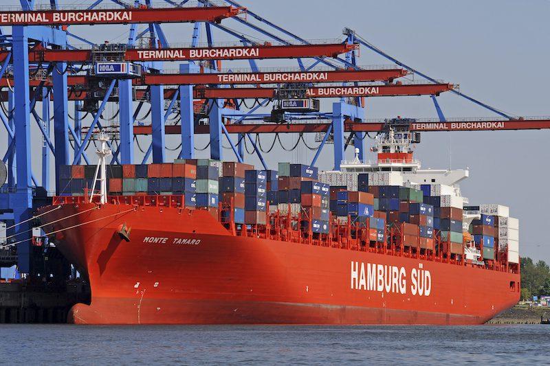 Ship docked at Port of Hamburg. File photo courtesy Hamburg Sud