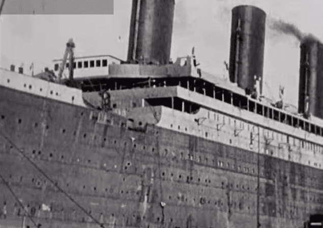 The Titanic as it departed Belfast in 1912. Still image from video courtesy of British Pathe