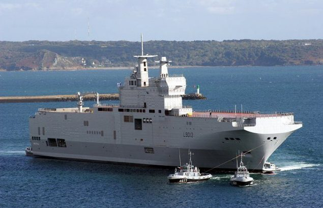 File photo shows a Mistral helicopter carrier. Credit:  Wikimedia Commons