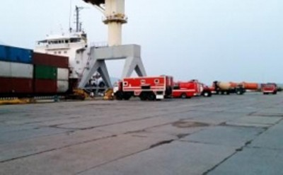 Emergency vehicles on scene in Vladivostok, image via Russian Ministry of Emergency Situations