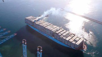 Triple-E nearly fully loaded departing Algeciras, Spain.  Photo courtesy Maersk Line