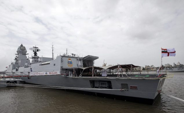 Newly commissioned warship INS Kolkata is seen docked after its commissioning ceremony at a naval base in Mumbai August 16, 2014. The warship weighs 7500 tonnes and has been constructed by the Mazagon Docks Ltd, Mumbai and designed by the Navy's Design Bureau. REUTERS/Danish Siddiqui