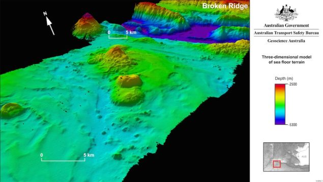 Bathymetric data models conducted in the search area have revealed newly discovered features on the sea floor, such as remnant volcanoes, ridges up to 300 meters high and canyons up to 1,400 meters deep. Graphic courtesy ATSB