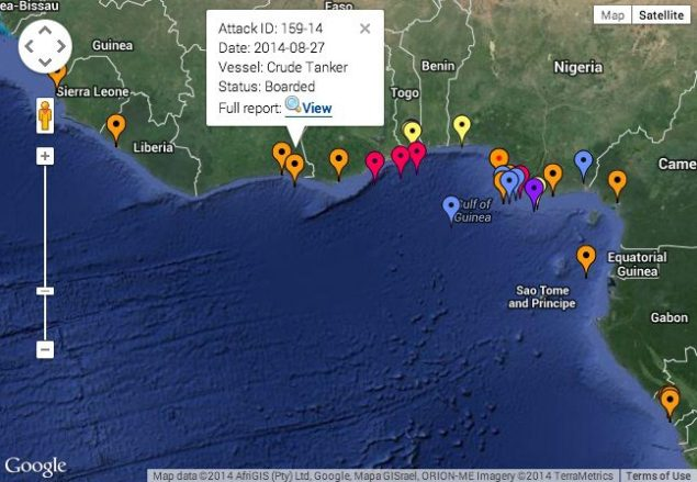 The approximate location of the Aug. 27 attack plotted on IMB's 2014 Live Piracy Map.