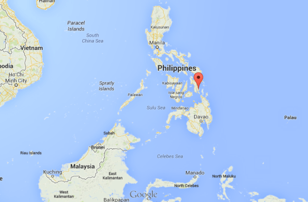 Pin shows the location of Southern Leyte, Philippines
