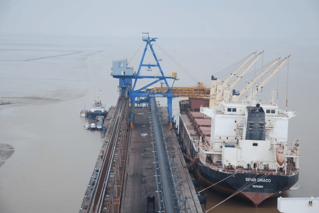 bulk carrier unloading coal dhamra port