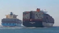 Video Captures Last Year's Epic Collision Between Fully Laden Containerships in the Suez
