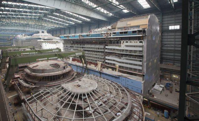Quantum of the Seas under construction  in Meyer Werft's Building Dock II. Image (c) Meyer Werft
