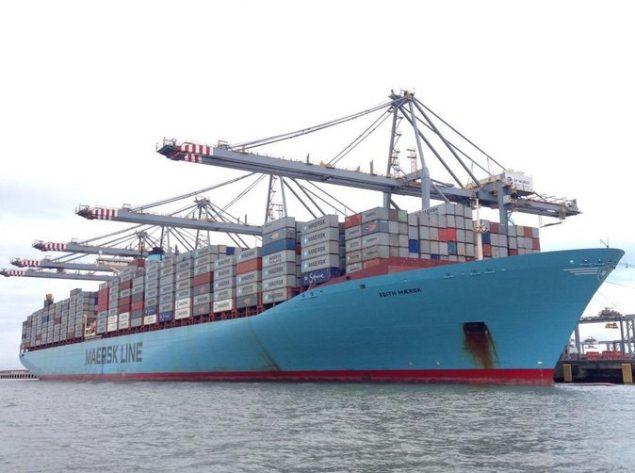 MV Edith Maersk berthed at London Gateway. Photo courtesy London Port Authority