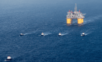 Shell says the platform will include advancements from previous four-column hosts, such as the Olympus tension-leg platform (TLP), pictured here under tow by Crowley tugs. Photo: Crowley