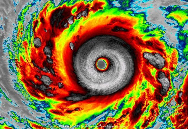 Infrared VIIRS image of Super Typhoon Vongfong as seen at 17:03 UTC (1:03 pm EDT) on October 7, 2014. At the time, Vongfong was a peak-intensity Category 5 storm with 180 mph winds. Image credit: Dan Lindsey, NOAA/NASA and RAMMB/CIRA via Weather Underground