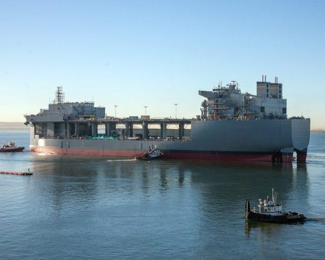 Lewis B. Puller (MLP-3) float-out in November, 2014. Photo credit: NASSCO