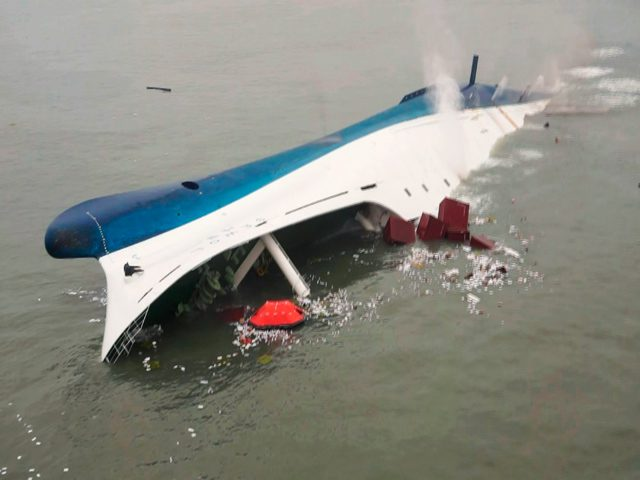 A picture of the Sewol capsizing, as taken by the Korea Coast Guard on April 16, 2014. Credit: Creatives Commons