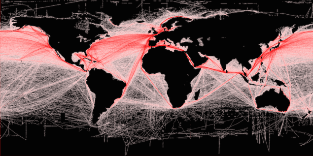 Global shipping routes crisscross the world's oceans in this map of shipping lanes derived from a 2008 study of the human impact on marine ecosystems. Credit: Grolltech