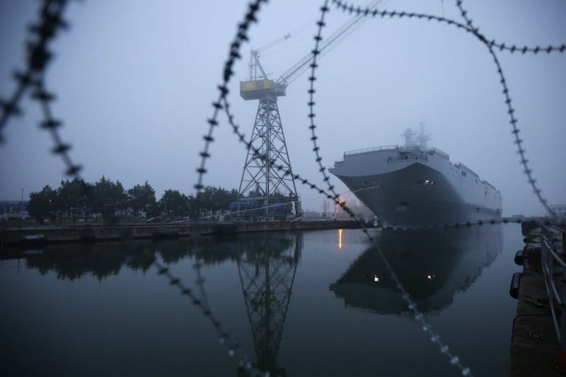 The Mistral-class helicopter carrier Vladivostok is seen at the STX Les Chantiers de l'Atlantique shipyard site in Saint-Nazaire, western France, November 25, 2014. REUTERS/Stephane Mahe