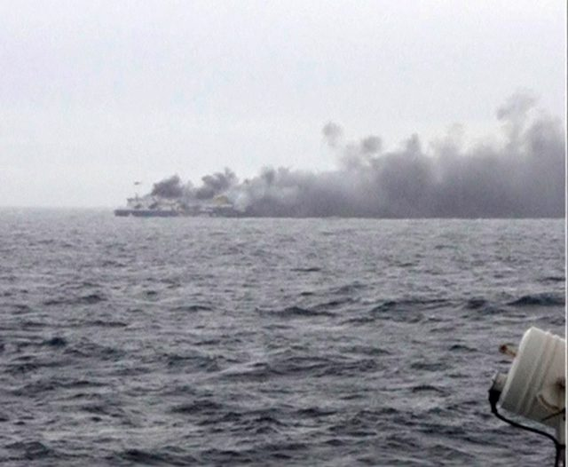 greece car ferry fire