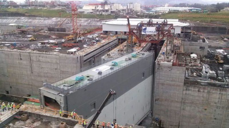 Expanded Panama Canal gate installation.