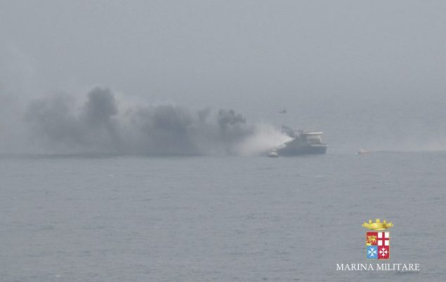 MV Norman Atlantic on fire. Photo courtesy Marina Militare