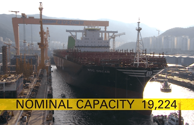 MSC Oscar launch at DSME. Image courtesy MSC