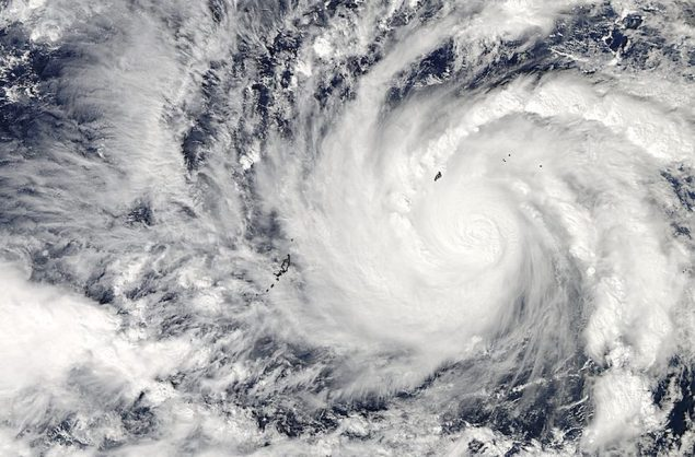 Typhoon Hagupit in the western Pacific Ocean is captured by NASA's Aqua satellite December 3, 2014. Image: NASA
