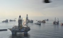 Skimming vessels, support vessels and oil rigs at the site of the Deepwater Horizon disaster in the Gulf of Mexico, June 13, 2010. U.S. Coast Guard Photo