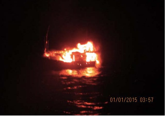 dhow on fire