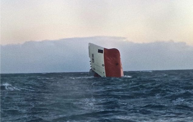 The upturned hull of the MV Cemfjord north of Scotland. Photo courtesy RNLI