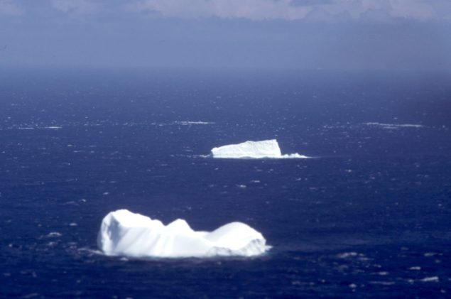 Icebergs spotted somewhere in the North Atlantic during a U.S. Coast Guard International Ice Patrol. U.S. Coast Guard Photo