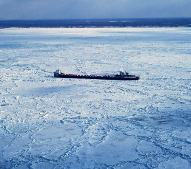 The motor vessel Arthur M. Anderson is beset in ice near Conneaut, Ohio, Feb. 19, 2015. Image courtesy Canadian Coast Guard