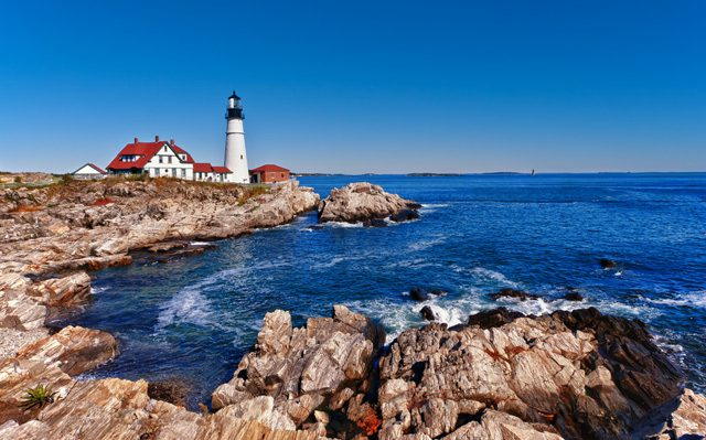 portland head light lighthouse maine shoreline coast