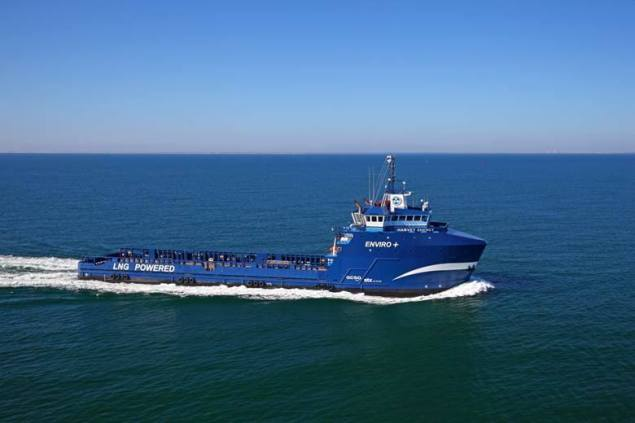 Earlier this month, MV Harvey Energy became the first vessel in N. America to run exclusively on natural gas when it entered into service for Shell. Photo courtesy Harvey Gulf International Marine