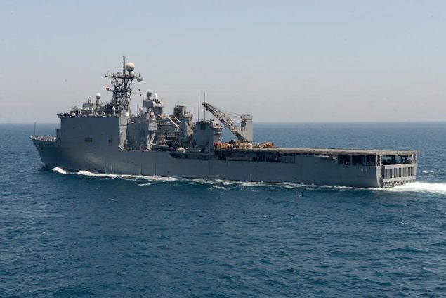 The amphibious dock landing ship USS Gunston Hall (LSD 44) underway in the Arabian Gulf. U.S. Navy file photo.