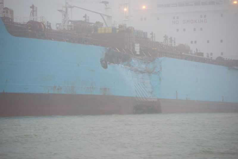 The chemical tanker Carla Maersk sits at anchor off Morgans Point, Texas, after being involved in a collision with the bulk carrier Conti Peridot March 9, 2015.