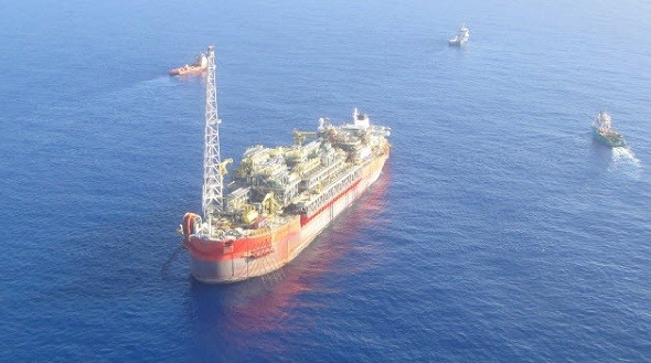The Cidade de São Mateus FPSO pictured on February 12, 2015, one day after the explosion. Photo courtesy BW Offshore
