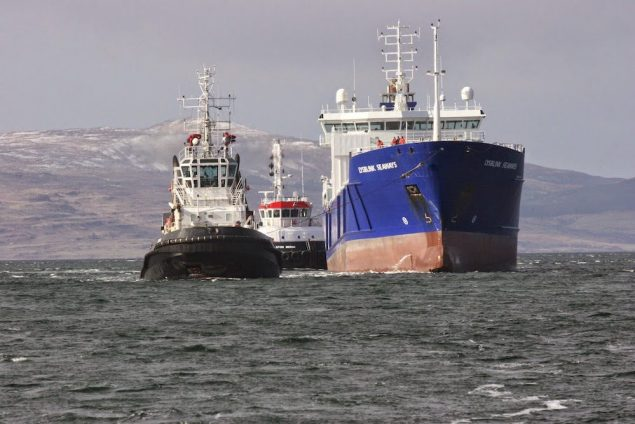 MV Lysblink Seaways under tow by the tug Luca. Photo courtesy MCA