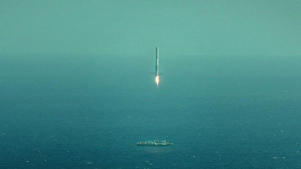 The Falcon 9 rocket making its approach to the spaceport drone ship in the Atlantic Ocean, April 14, 2015. Still image: SpaceX