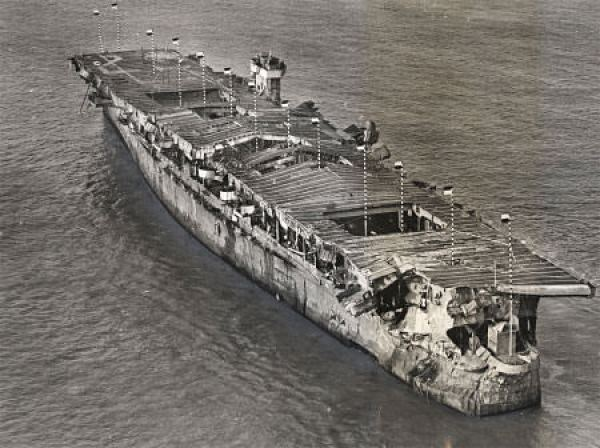 Independence just before it was scuttled in 1951. Photo: NOAA