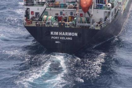 Photo shows the pirates painted over the name of the vessel, changing it to KIM HARMON. Photo: Royal Malaysian Navy