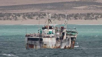 FV Naham 3 anchored off the coast of Somali. Photo: Oceans Beyond Piracy