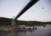 Greenpeace Activists Hang from Bridge to Block Shell Icebreaker