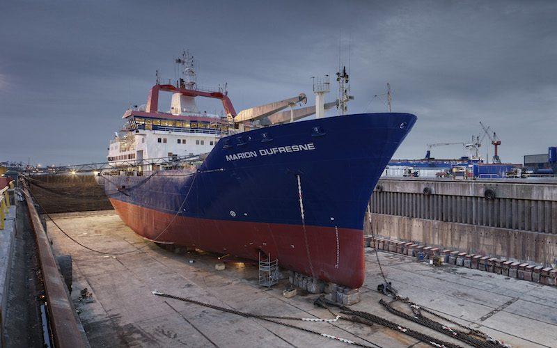 Marion Dufresne in dock - Damen Shiprepair Dunkerque