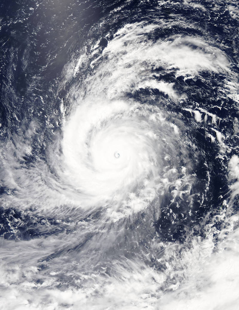 On Aug. 4, 2015, at 4:10 UTC (12:10 a.m. EDT) the MODIS instrument aboard NASA's Aqua satellite captured this visible-light image of Super typhoon Soudelor as it reached Category 5 status on the on the Saffir-Simpson Wind Scale Credits: NASA Goddard's MODIS Rapid Response Team
