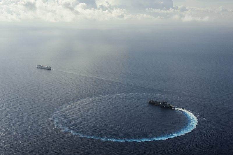 150814-N-TQ272-994 PACIFIC OCEAN (Aug. 13, 2015) The Japanese fleet oiler JS Mashu (AOE 425) conducts a replenishment-at-sea with the Military Sealift Command hospital ship USNS Mercy (T-AH 19) during Pacific Partnership 2015. Pacific Partnership is in its 10th iteration and is the largest annual multilateral humanitarian assistance and disaster relief preparedness mission conducted in the Indo-Asia-Pacific region. While training for crisis conditions, Pacific Partnership missions to date have provided real world medical care to approximately 270,000 patients and veterinary services to more than 38,000 animals. Additionally, the mission has provided critical infrastructure development to host nations through more than 180 engineering projects. (U.S. Navy photo by Mass Communication Specialist 2nd Class Mark El-Rayes/Released)