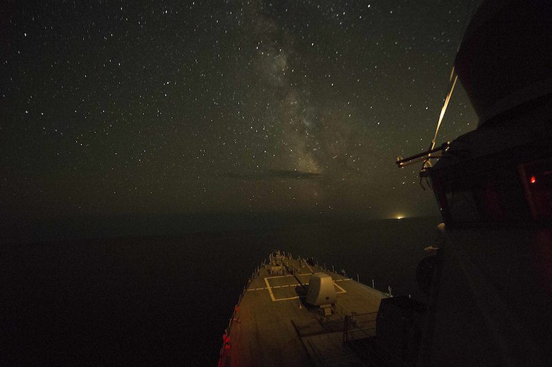 150908-N-AX546-904 BLACK SEA (Sept. 8, 2015) The guided-missile destroyer USS Donald Cook (DDG 75) transits the Black Sea. Donald Cook is participating in exercise Sea Breeze 2015. Sea Breeze is an air, land, and maritime exercise designed to improve maritime safety, security, and stability in the Black Sea. (U.S. Navy photo by Mass Communication Specialist 1st Class Sean Spratt/Released)
