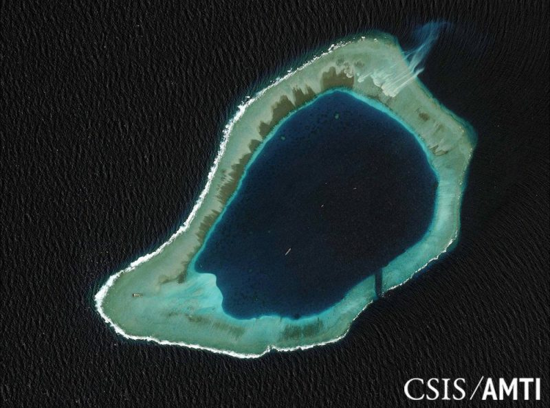 Subi reef, located in the disputed Spratly Islands in the South China Sea, is shown in this handout Center for Strategic and International Studies (CSIS) Asia Maritime Transparency Initiative satellite image taken August 8, 2012, and released to Reuters October 27, 2015. A U.S. guided-missile destroyer sailed close to one of China's man-made islands in the South China Sea on October 27, 2015, drawing an angry rebuke from Beijing, which said it had tracked and warned the ship and called in the U.S. ambassador to protest. REUTERS/CSIS Asia Maritime Transparency Initiative/DigitalGlobe/Handout via Reuters ATTENTION EDITORS - THIS PICTURE WAS PROVIDED BY A THIRD PARTY. REUTERS IS UNABLE TO INDEPENDENTLY VERIFY THE AUTHENTICITY, CONTENT, LOCATION OR DATE OF THIS IMAGE. THIS PICTURE IS DISTRIBUTED EXACTLY AS RECEIVED BY REUTERS, AS A SERVICE TO CLIENTS. FOR EDITORIAL USE ONLY. NOT FOR SALE FOR MARKETING OR ADVERTISING CAMPAIGNS. NO RESALES. NO ARCHIVE. MANDATORY CREDIT.