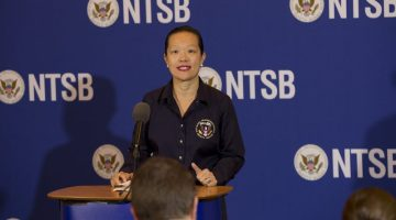 Vice Chairman T. Bella Dinh-Zarr briefs the media on the NTSB investigation of the El Faro accident. Photo: NTSB