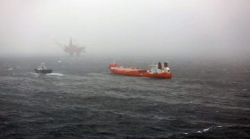 Photo provided by Statoil shows the Hilda Knutsen tanker at the Statfjord field. Photo: Statoil