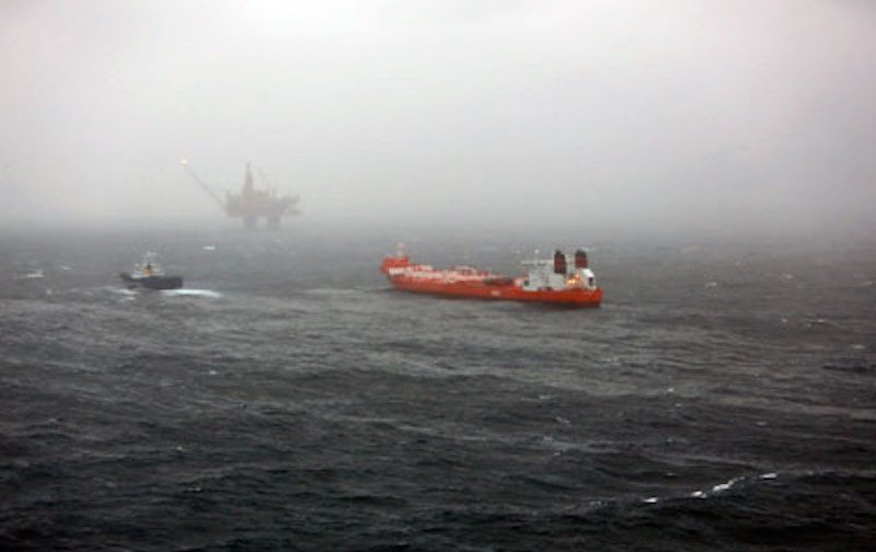 Photo provided by Statoil shows the Hilda Knutsen tanker at the Statfjord field. Photo: Statoil