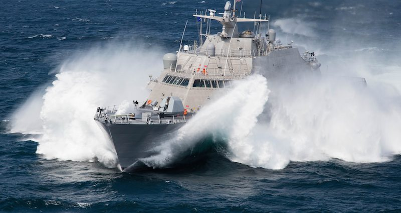 The Freedom-class USS Milwaukee (LCS 5) during sea trials in September 2015. Photo: Lockheed Martin