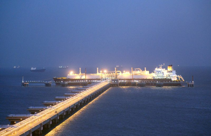 An LNG carrier berths at PetroChina's Tangshan LNG terminal. File photo. Credit: Qatargas